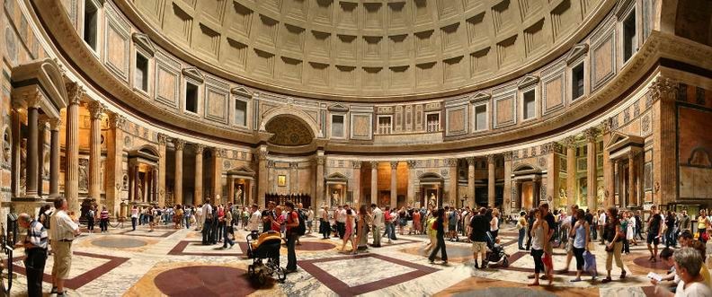 The Pantheon in Rome is a temple in the city Centre. Pantheon tours Information and guided tours of the Pantheon's dome, official provate guided tours of Rome
