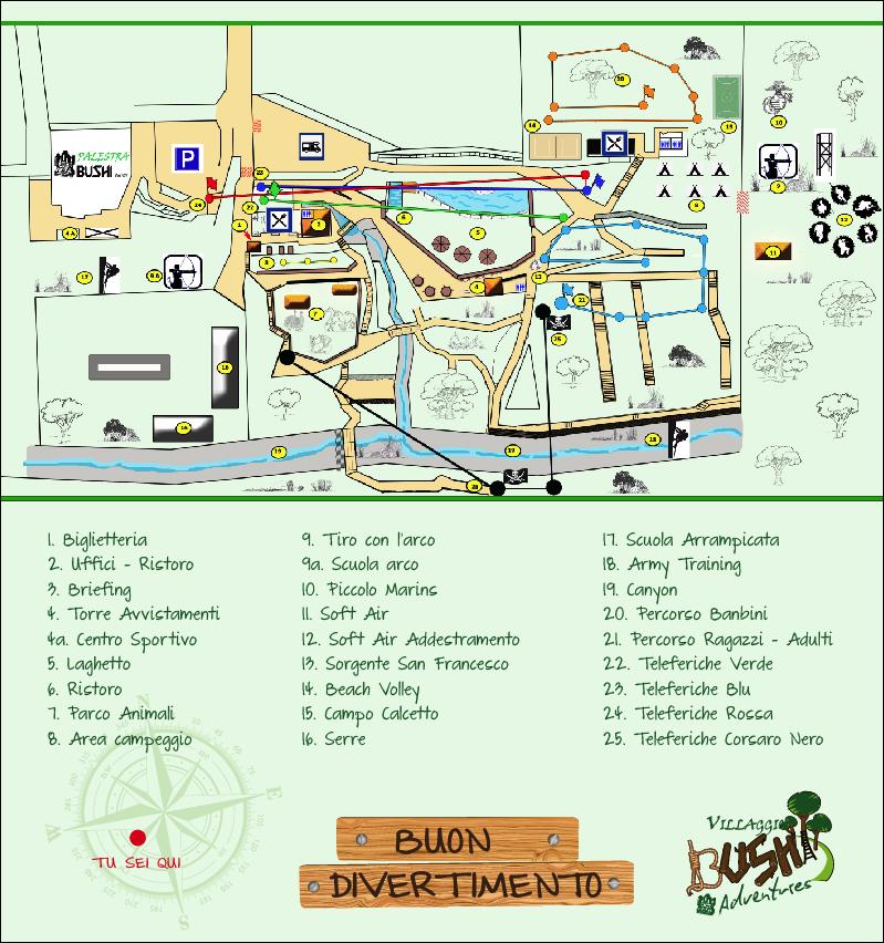 Mappa Parco Avventura Villaggio Bushi Adventures