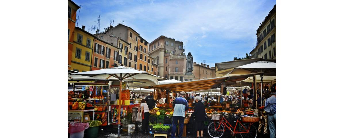 taly - Rome - Campo De Fiori Square - Campo di Fiori in Rome, open Market Information - Farnese Square - Panoramic view and major sites of the Eternal city